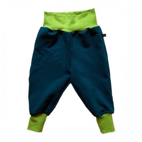 Teal organic kids sweatpants with kiwi green waistband | bingabonga