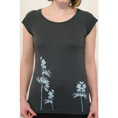 "Women's T-shirt ""Floral"", gray, Organic Cotton"