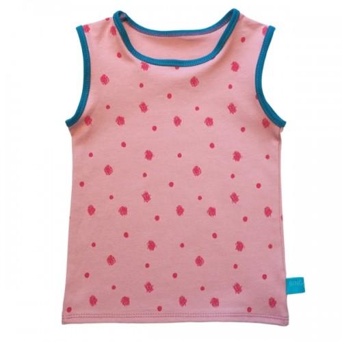 Kids Organic Jersey Tanktop Pink Dots   bingabonga