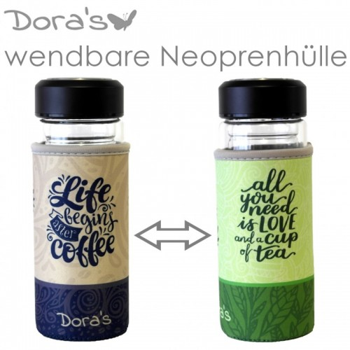 Dora's Kaffee & Tee to go Glasbecher m. Wende-Neoprenhülle