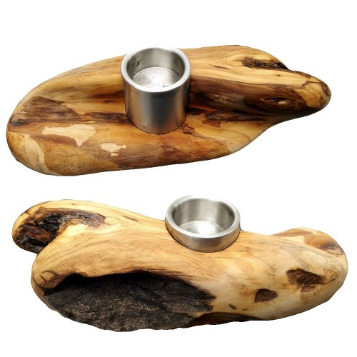 "Eco Tea Light Holder ""Booty"" of Root Olive Wood 