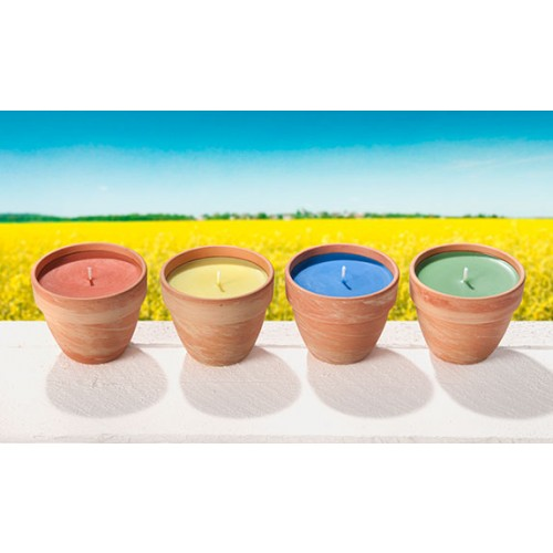 Rape Wax Candles with Natural Fragrance in Terracotta Pot | stuwa