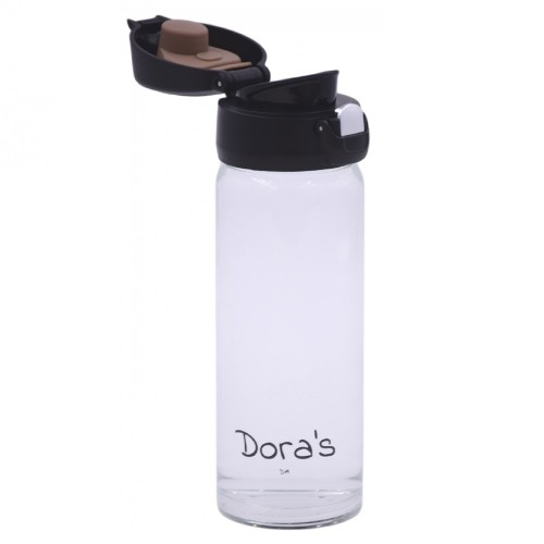 Dora's Glass Thermal Mug with One-Hand Lid & tea strainer