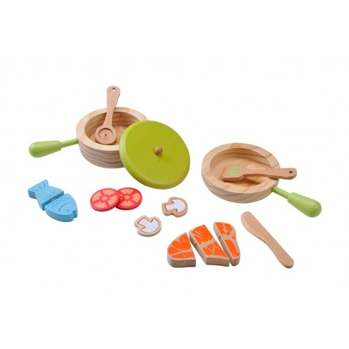 EverEarth eco wooden toy Pot & Pan Cooking Set of FSC wood