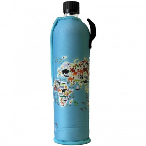 Glasflasche mit Neoprenanzug Sonderedition Weltkarte   Dora