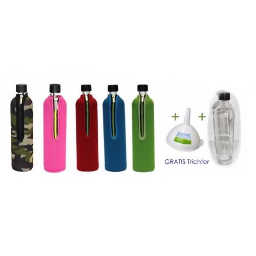 Refillable glass bottle set with neoprene sleeve & free funnel | Dora's