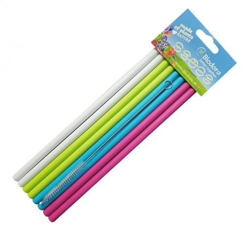 Reusable Straws made of Bioplastics, 8 pieces | Biodora