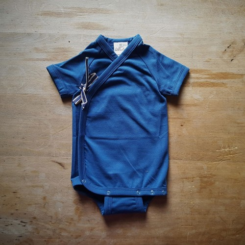 Ulalue organic short-sleeved wrap-over bodysuit in blue