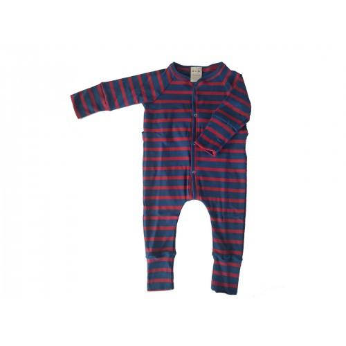 Organic Babygrow red-blue striped, footless sleepsuit