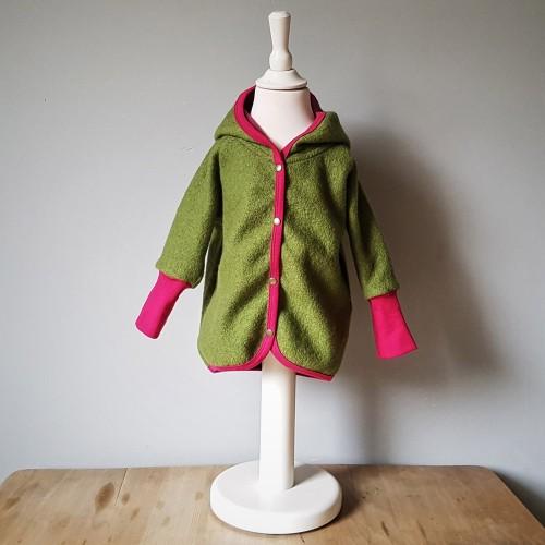 Organic Boiled Wool Baby Jacket green-pink » Ulalue