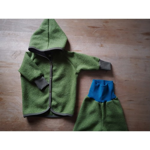 Green Organic Boiled Wool Baby Jacket with hood » Ulalue