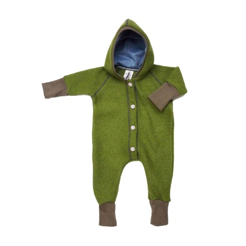 Green Organic Boiled Wool Baby Overall with hood » Ulalue