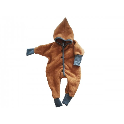 Dwarfs Jumpsuit Eco Wool Fleece with hood, buttoned baby jumpsuit | Ulalue