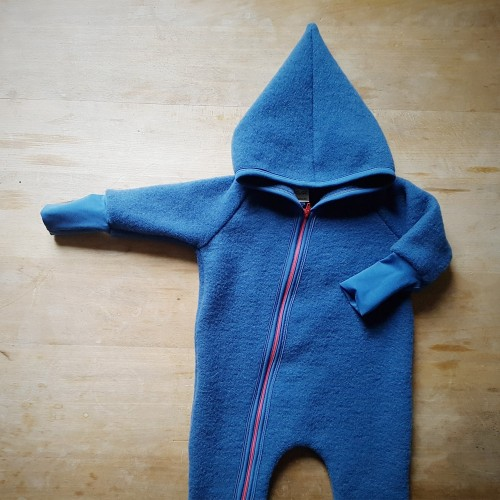 Baby Overall Organic Wool Fleece with Hood & Zipper, blue » Ulalue