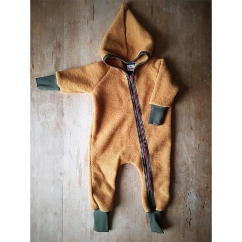 Organic Wool Fleece Baby Overall, curcuma, hood & zipper » Ulalue