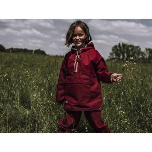 Childrens' Hooded Outdoor Jacket, EtaProof Organic Cotton, berry | Ulalue