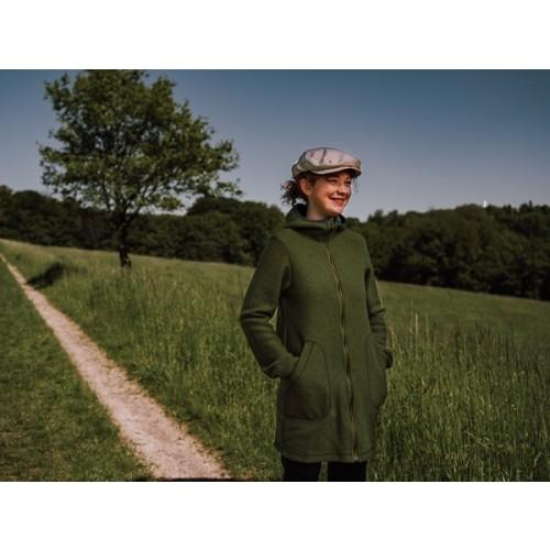 Boiled Wool Coat Green-Teal - Organic Virgin Wool | Ulalue