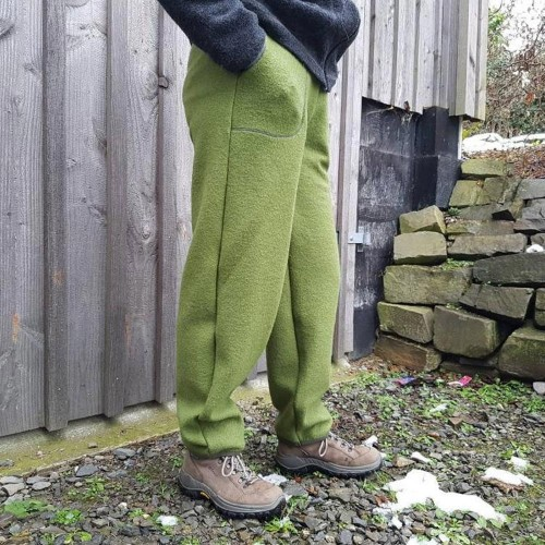Outdoor trousers, olive-green, organic boiled new wool » Ulalue