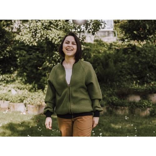 Jacket Blouson Style, olive-green, organic boiled new wool » Ulalue
