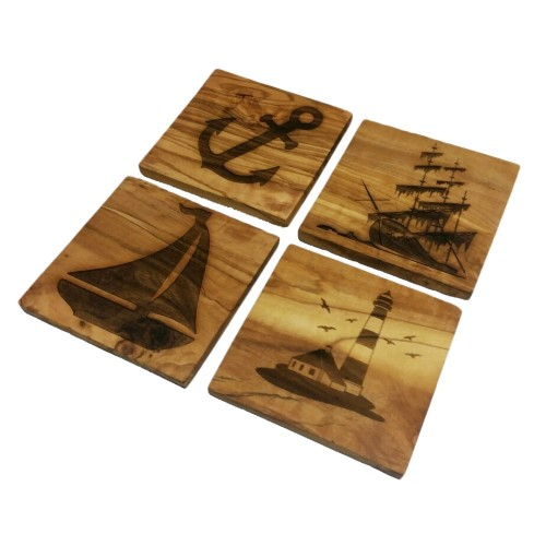Olive Wood Coaster, various maritime engravings | D.O.M.