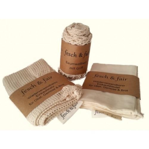 3-piece reusable Organic Cotton Shopping Bag Set - fesch & fair