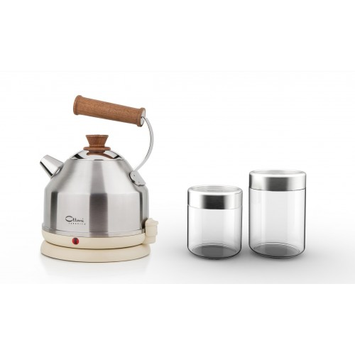 Kitchen Set: electric kettle LIGNUM SATINATO & Glass Jars Nathan Satin | Ottoni Fabbrica