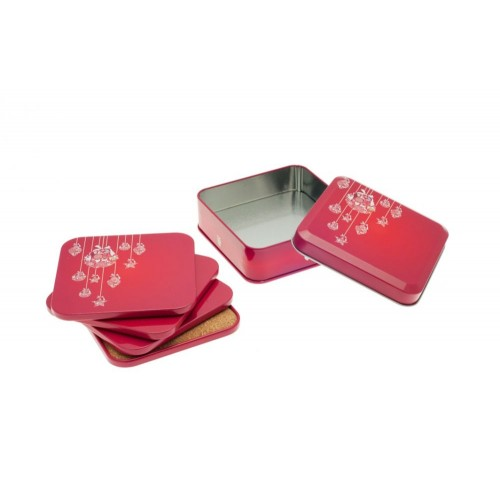 Red Coaster Christmas Time in decorative Tin Can | Tindobo