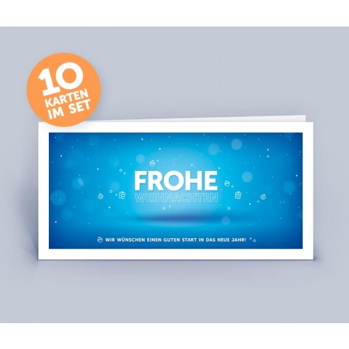 Christmas Card blue in modern Design set of 10 | eco-cards