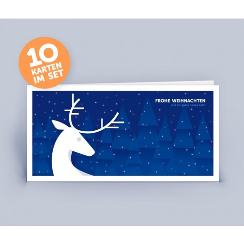 Christmas Card blue with Deer in noble Design | eco-cards