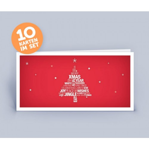 Christmas Card red with English Tag Clouds Christmas Tree | eco-cards