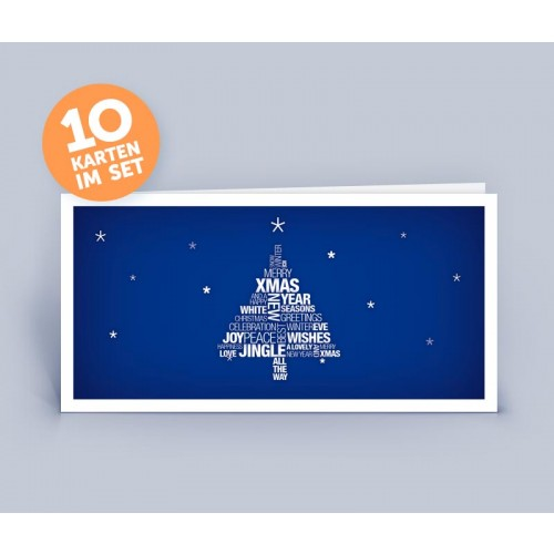 Christmas Card blue with English Tag Cloud Christmas Tree | eco-cards