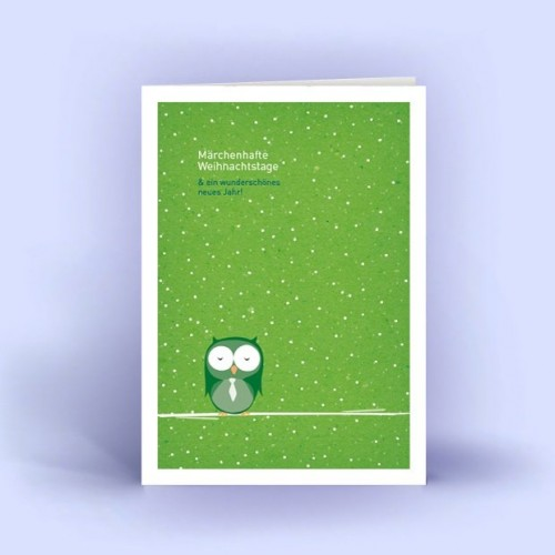 Owl in the Snow - Eco Christmas Card DIN A6 | eco-cards