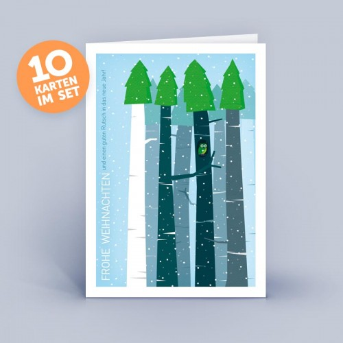 Blue eco Christmas Card - Owl in the Forest | eco-cards