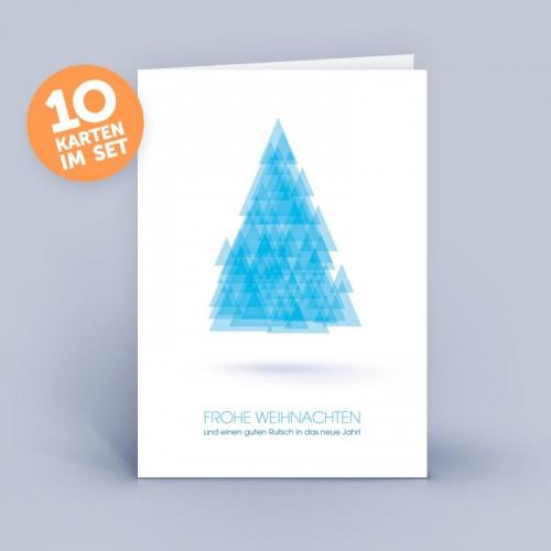 Blue eco Christmas Card abstract Christmas Tree | eco-cards
