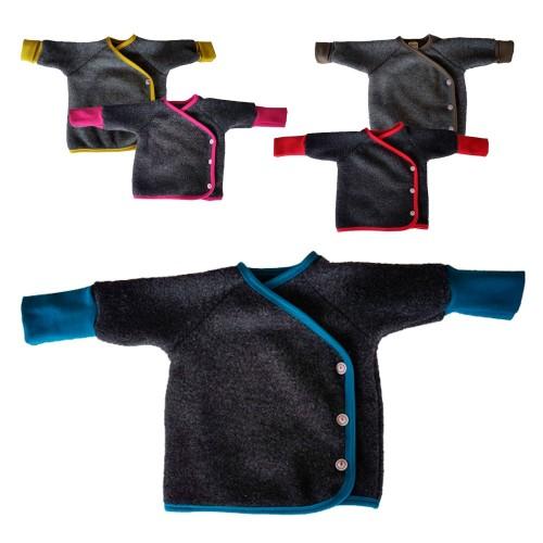 Baby wrap jacket of organic wool fleece grey/colourful | Ulalue