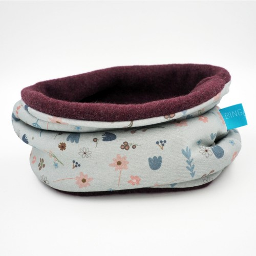 Winter Tube Scarf Eco Cotton & Fleece Flowers | bingabonga
