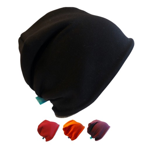 Winter Beanie Hat 'Line Plain Solid Colour' Organic Jersey & Fleece   bingabonga