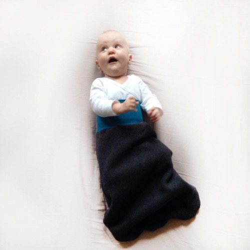 Winter Swaddle Wrap Organic Cotton Fleece Anthracite/Teal | bingabonga
