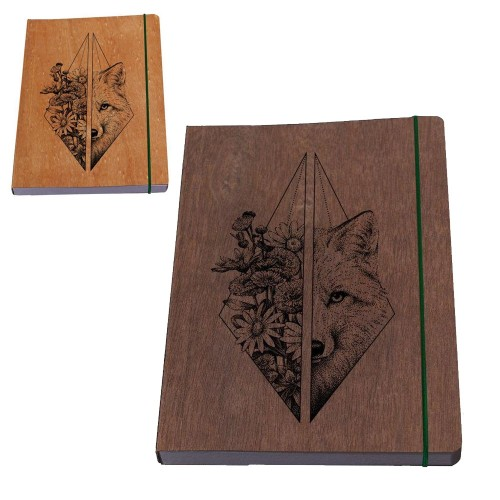 Eco Notebook »Wolf female« wooden book cover | Waldkind