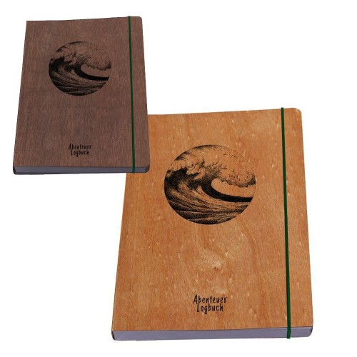 Notebook Adventure Logbook WAVE - wood book cover | Waldkind