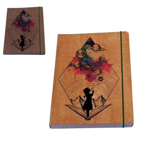 Notebook »Girl's Galaxy« genuine wood book cover | Waldkind