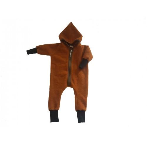 Eco Wool Fleece Baby Jumpsuit with hood & zipper, amber | Ulalue