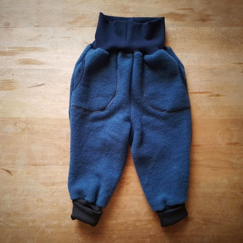 Kids Organic Wool Fleece Trousers Night Blue