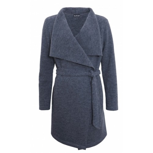 Cardigan with wide collar & belt made of Eco new wool | billbillundbill