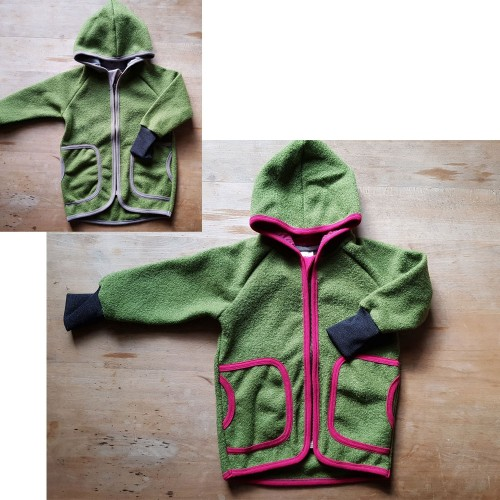 Eco Wool Broadcloth Kids Hoodie Jacket, olive & colourful seam | Ulalue