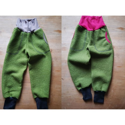 Eco Wool Broadcloth Kids Trousers, colourful waistband | Ulalue