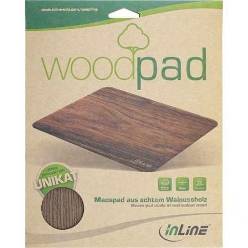 InLine WoodPad, real wood mouse pad, walnut