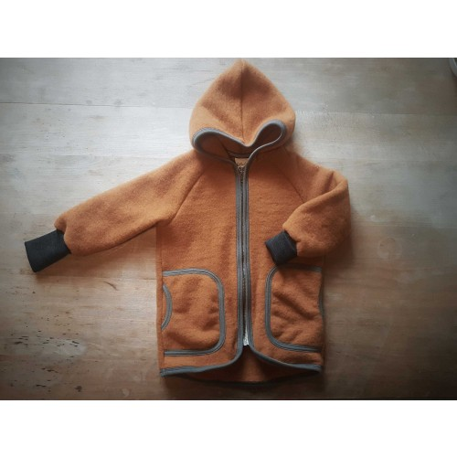 Organic Wool Fleece Jacket Amber with Hood for Kids | Ulalue