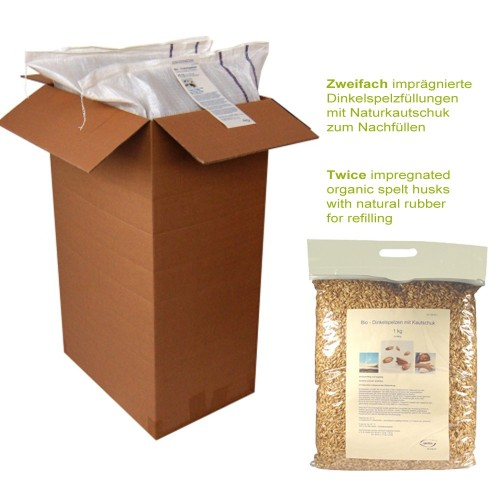 Twice impregnated organic spelt husks with natural rubber for refilling | speltex