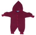 Kids Plain Fleece Overall with Gloves, berry - eco merino-wool | Reiff